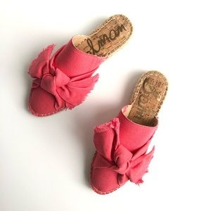 SAM EDELMAN Espadrille Pink Coral Tan Bow Sandals